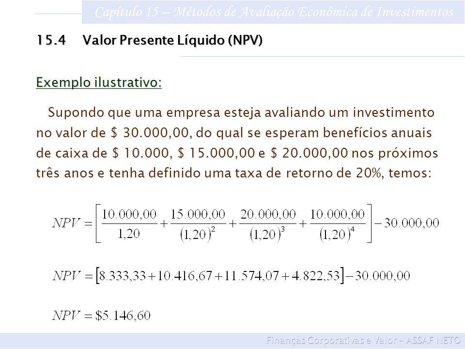 Capítulo 15 – Métodos de Avaliação Econômica de Investimentos 15.4Valor Presente Líquido (NPV) Exemplo ilustrativo: Supondo que uma empresa esteja ava