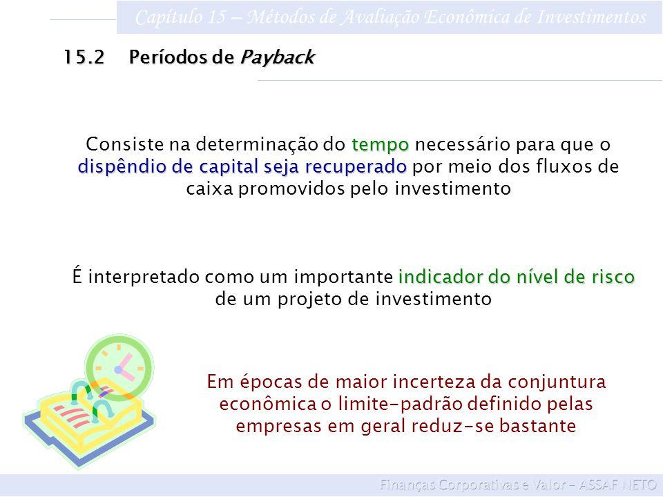 Capítulo 15 – Métodos de Avaliação Econômica de Investimentos 15.2Períodos de Payback tempo dispêndio de capital seja recuperado Consiste na determina