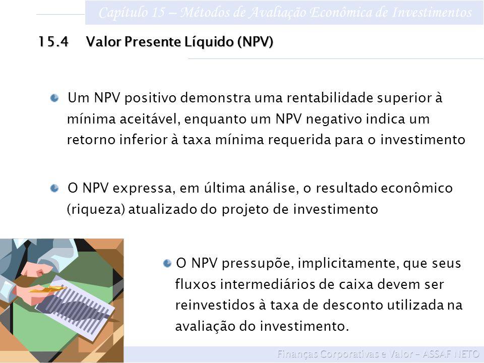 Capítulo 15 – Métodos de Avaliação Econômica de Investimentos Um NPV positivo demonstra uma rentabilidade superior à mínima aceitável, enquanto um NPV