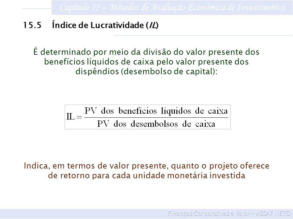 Capítulo 15 – Métodos de Avaliação Econômica de Investimentos 15.5Índice de Lucratividade (IL) É determinado por meio da divisão do valor presente dos