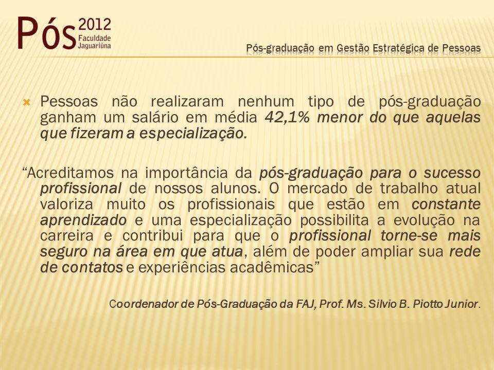 Pessoas não realizaram nenhum tipo de pós-graduação ganham um salário em média 42,1% menor do que aquelas que fizeram a especialização. Acreditamos na