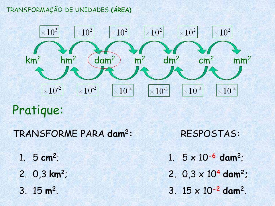 Pratique: TRANSFORME PARA dam 2 : 1.5 cm 2 ; 2.0,3 km 2 ; 3.15 m 2. RESPOSTAS: 1.5 x 10 -6 dam 2 ; 2.0,3 x 10 4 dam 2 ; 3.15 x 10 -2 dam 2. TRANSFORMA