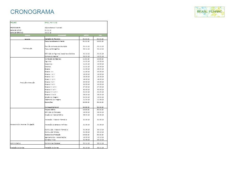 CRONOGRAMA PROJETOBRASIL FEMININO PROPONENTEDébora Branco Mischiatti DATA DE INÍCIO01.11.11 DATA DE TÉRMINO16.11.13 ETAPASATIVIDADESINÍCIOFIM Captação