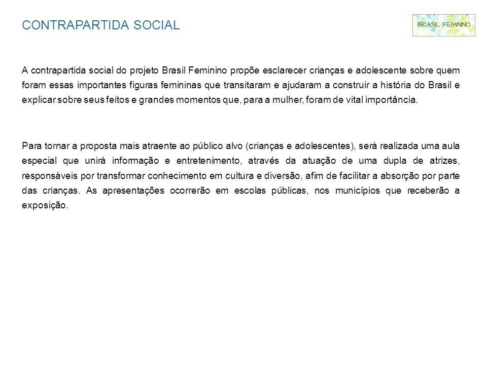 CONTRAPARTIDA SOCIAL A contrapartida social do projeto Brasil Feminino propõe esclarecer crianças e adolescente sobre quem foram essas importantes fig