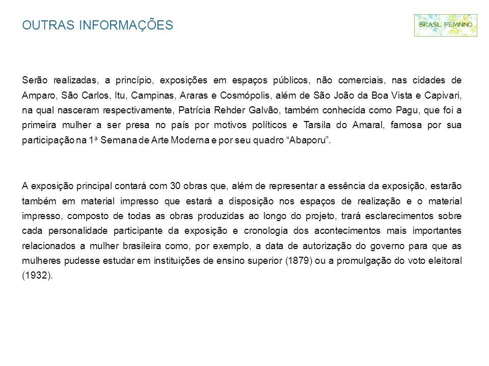 OUTRAS INFORMAÇÕES Serão realizadas, a princípio, exposições em espaços públicos, não comerciais, nas cidades de Amparo, São Carlos, Itu, Campinas, Ar