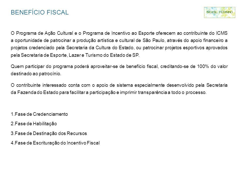 BENEFÍCIO FISCAL O Programa de Ação Cultural e o Programa de Incentivo ao Esporte oferecem ao contribuinte do ICMS a oportunidade de patrocinar a prod