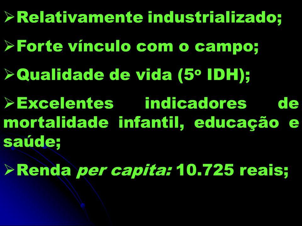 Relativamente industrializado; Forte vínculo com o campo; Qualidade de vida (5 o IDH); Excelentes indicadores de mortalidade infantil, educação e saúde; Renda per capita: 10.725 reais;