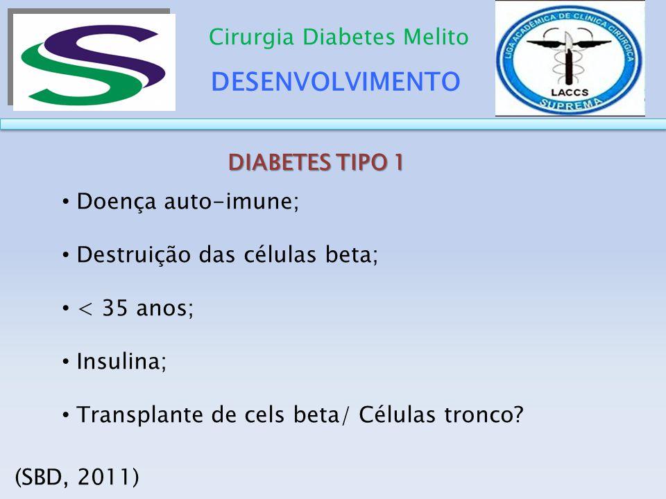 DESENVOLVIMENTO Cirurgia Diabetes Melito DIABETES TIPO 1 Doença auto-imune; Destruição das células beta; < 35 anos; Insulina; Transplante de cels beta