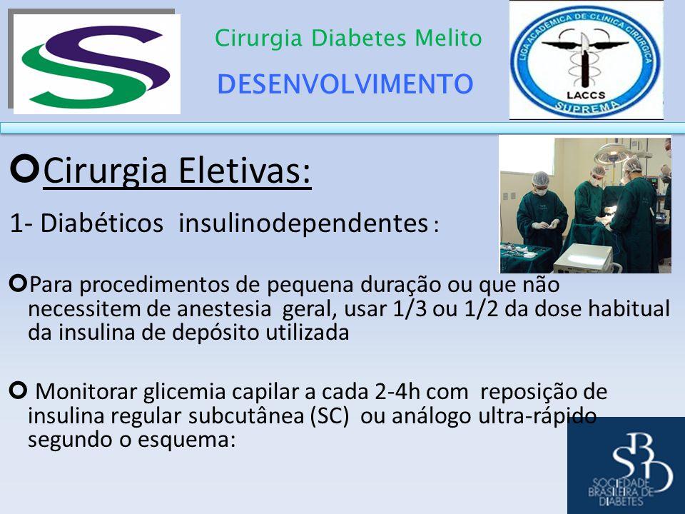 DESENVOLVIMENTO Cirurgia Diabetes Melito Cirurgia Eletivas: 1- Diabéticos insulinodependentes : Para procedimentos de pequena duração ou que não neces