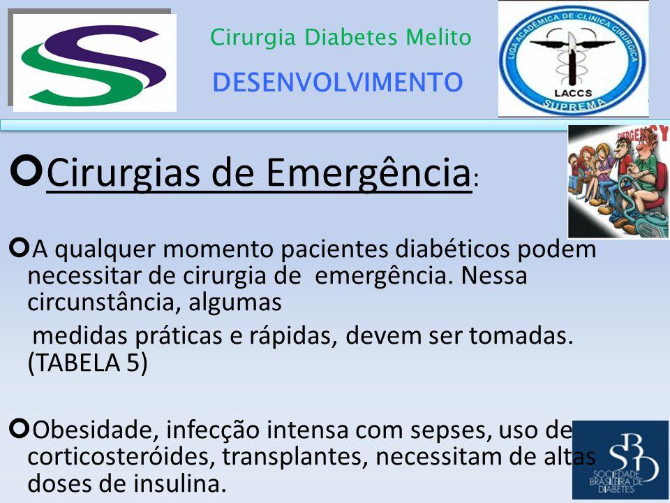 DESENVOLVIMENTO Cirurgia Diabetes Melito Cirurgias de Emergência : A qualquer momento pacientes diabéticos podem necessitar de cirurgia de emergência.