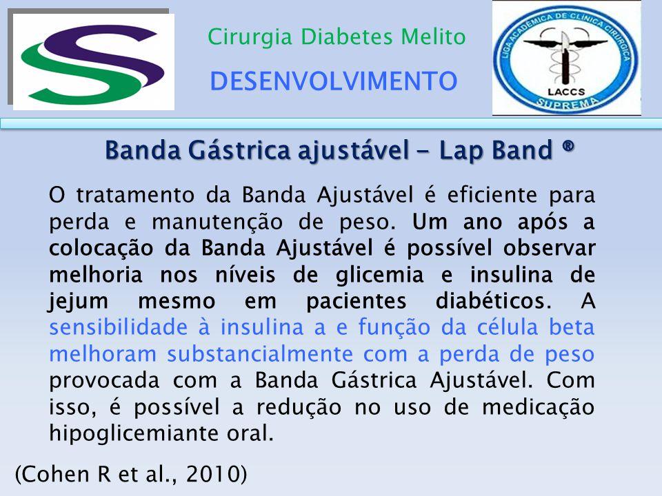 DESENVOLVIMENTO Cirurgia Diabetes Melito Banda Gástrica ajustável - Lap Band ® Banda Gástrica ajustável - Lap Band ® (Cohen R et al., 2010) O tratamen