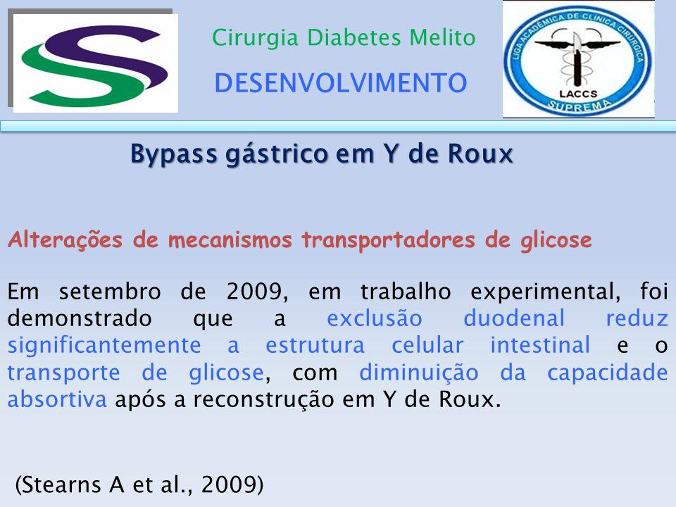 DESENVOLVIMENTO Cirurgia Diabetes Melito Alterações de mecanismos transportadores de glicose Em setembro de 2009, em trabalho experimental, foi demons
