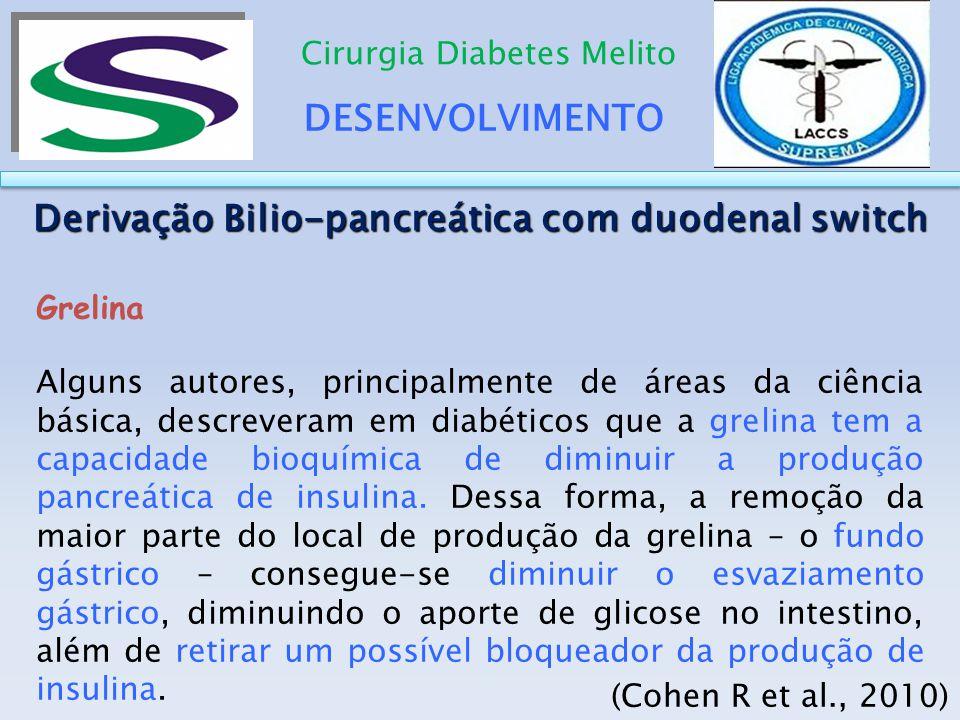 DESENVOLVIMENTO Cirurgia Diabetes Melito Derivação Bilio-pancreática com duodenal switch Grelina Alguns autores, principalmente de áreas da ciência bá