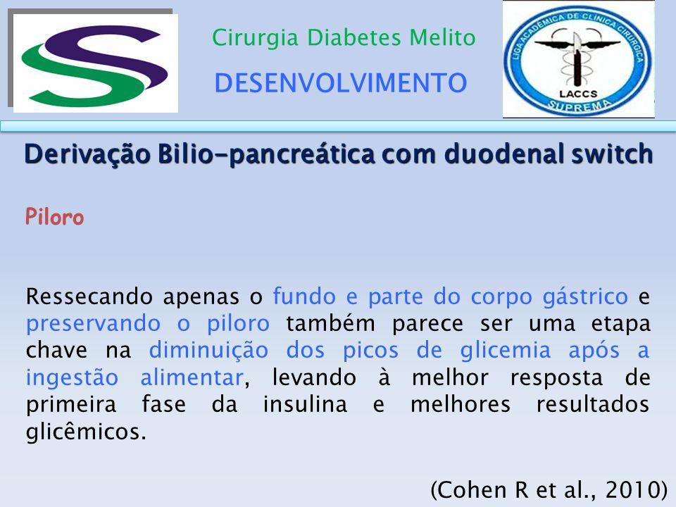 DESENVOLVIMENTO Cirurgia Diabetes Melito Derivação Bilio-pancreática com duodenal switch Piloro Ressecando apenas o fundo e parte do corpo gástrico e