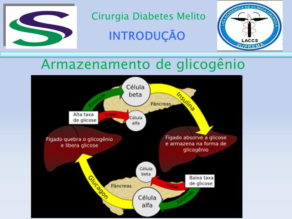 INTRODUÇÃO Cirurgia Diabetes Melito Não necessitam de intermediação da insulina Normalmente apenas glicose como fonte de energia Glicose entre 20 e 50 mg/100 mL : choque glicêmico (irritabilidade nervosa progressiva, que leva a perda de consciência, convulsões e até ao coma.