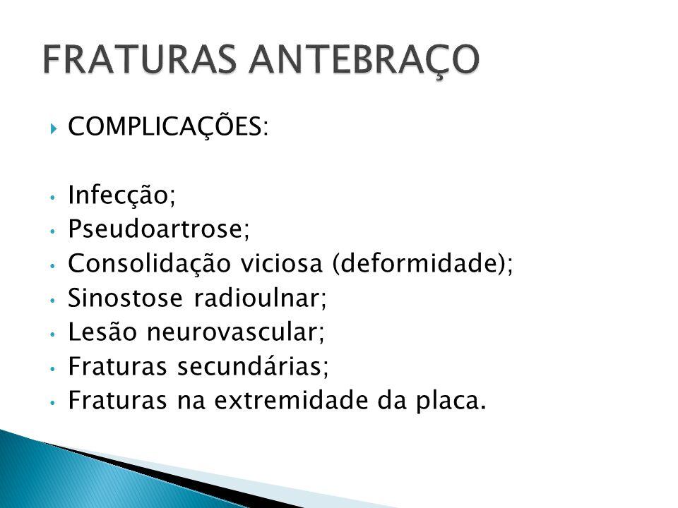 COMPLICAÇÕES: Infecção; Pseudoartrose; Consolidação viciosa (deformidade); Sinostose radioulnar; Lesão neurovascular; Fraturas secundárias; Fraturas n