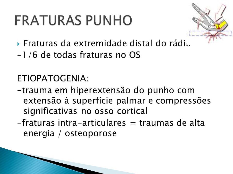 Fraturas da extremidade distal do rádio -1/6 de todas fraturas no OS ETIOPATOGENIA: -trauma em hiperextensão do punho com extensão à superfície palmar