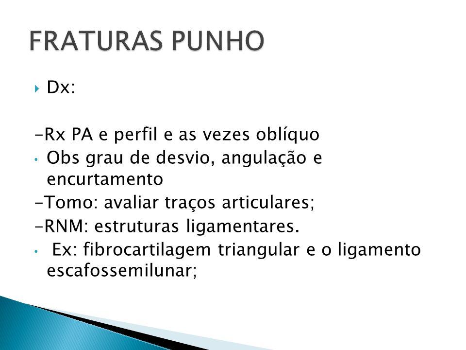 Dx: -Rx PA e perfil e as vezes oblíquo Obs grau de desvio, angulação e encurtamento -Tomo: avaliar traços articulares; -RNM: estruturas ligamentares.