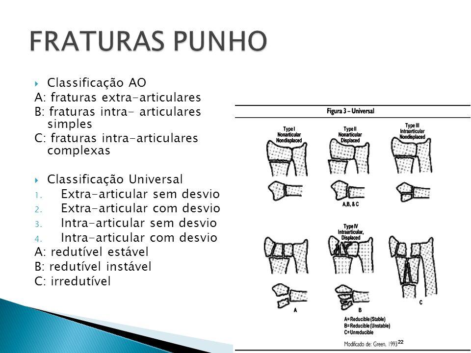 Classificação AO A: fraturas extra-articulares B: fraturas intra- articulares simples C: fraturas intra-articulares complexas Classificação Universal