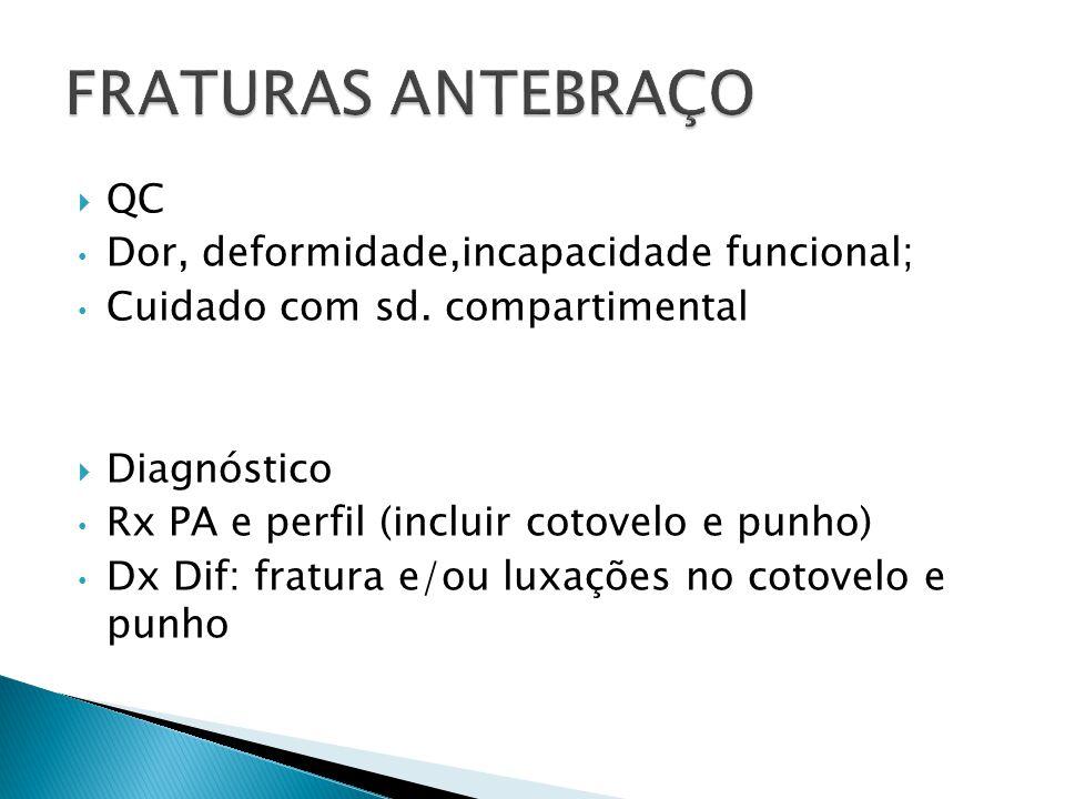 QC Dor, deformidade,incapacidade funcional; Cuidado com sd. compartimental Diagnóstico Rx PA e perfil (incluir cotovelo e punho) Dx Dif: fratura e/ou