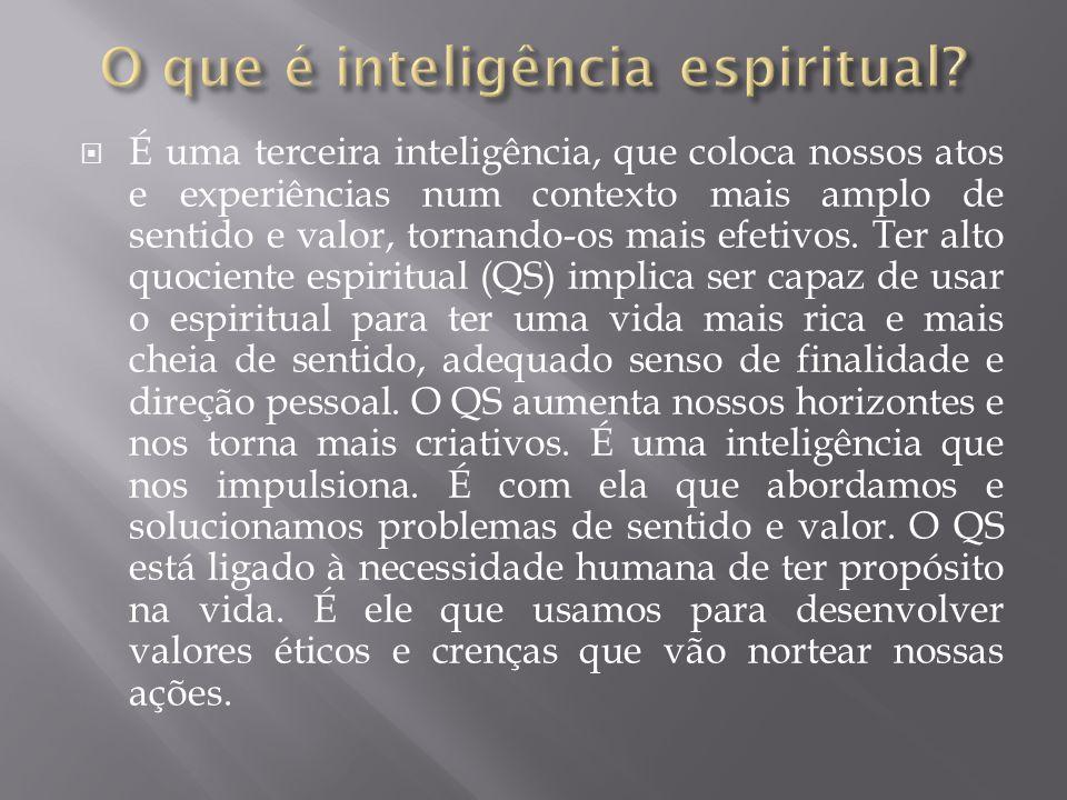 É uma terceira inteligência, que coloca nossos atos e experiências num contexto mais amplo de sentido e valor, tornando-os mais efetivos.