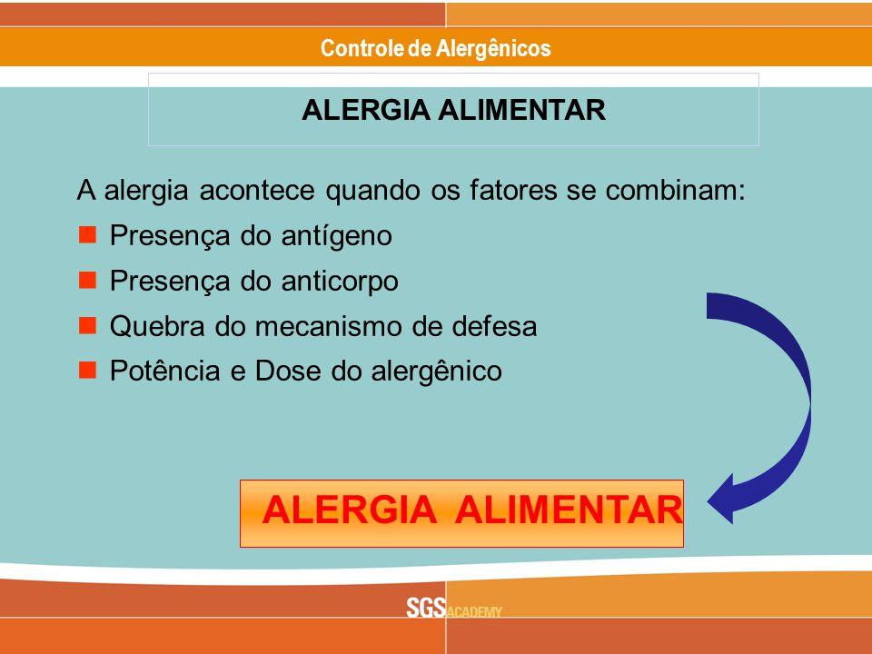 Alergênicos Slide 10 of 17 Controle de Alergênicos ALERGIA ALIMENTAR A alergia acontece quando os fatores se combinam: Presença do antígeno Presença do anticorpo Quebra do mecanismo de defesa Potência e Dose do alergênico