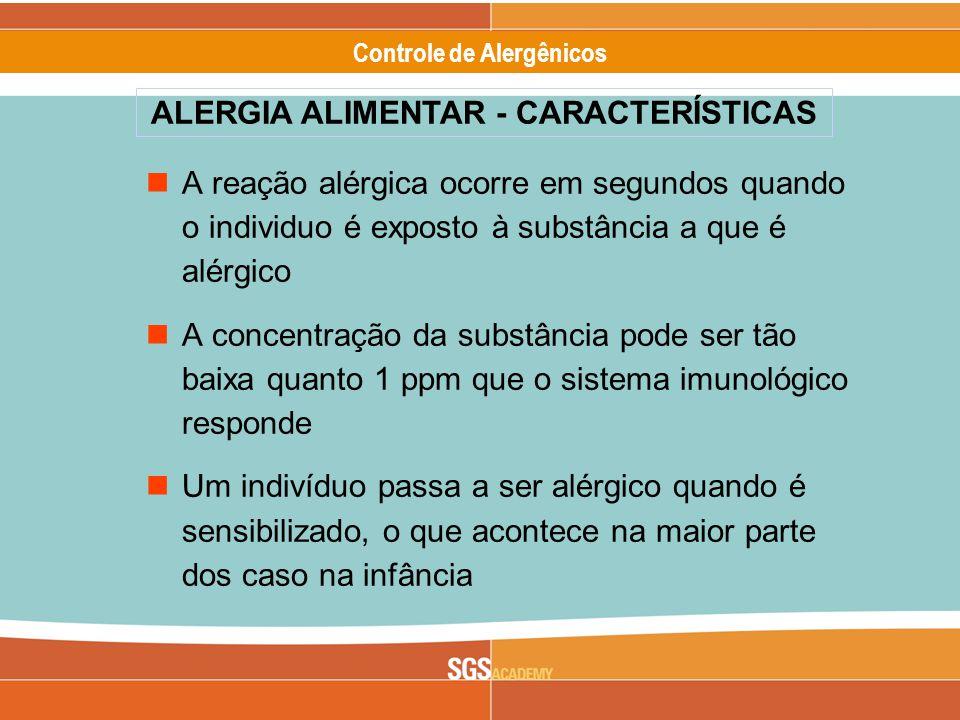 Alergênicos Slide 13 of 17 Controle de Alergênicos A reação alérgica ocorre em segundos quando o individuo é exposto à substância a que é alérgico A concentração da substância pode ser tão baixa quanto 1 ppm que o sistema imunológico responde Um indivíduo passa a ser alérgico quando é sensibilizado, o que acontece na maior parte dos caso na infância ALERGIA ALIMENTAR - CARACTERÍSTICAS