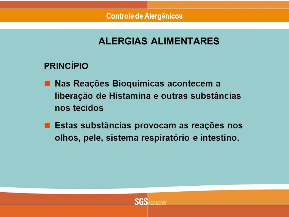 Alergênicos Slide 5 of 17 Controle de Alergênicos ALERGIAS ALIMENTARES PRINCÍPIO Nas Reações Bioquímicas acontecem a liberação de Histamina e outras substâncias nos tecidos Estas substâncias provocam as reações nos olhos, pele, sistema respiratório e intestino.