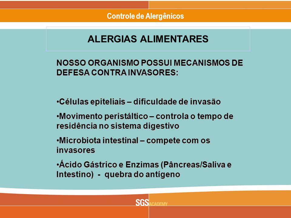 Alergênicos Slide 7 of 17 Controle de Alergênicos NOSSO ORGANISMO POSSUI MECANISMOS DE DEFESA CONTRA INVASORES: Células epiteliais – dificuldade de invasãoCélulas epiteliais – dificuldade de invasão Movimento peristáltico – controla o tempo de residência no sistema digestivoMovimento peristáltico – controla o tempo de residência no sistema digestivo Microbiota intestinal – compete com os invasoresMicrobiota intestinal – compete com os invasores Ácido Gástrico e Enzimas (Pâncreas/Saliva e Intestino) - quebra do antígenoÁcido Gástrico e Enzimas (Pâncreas/Saliva e Intestino) - quebra do antígeno ALERGIAS ALIMENTARES