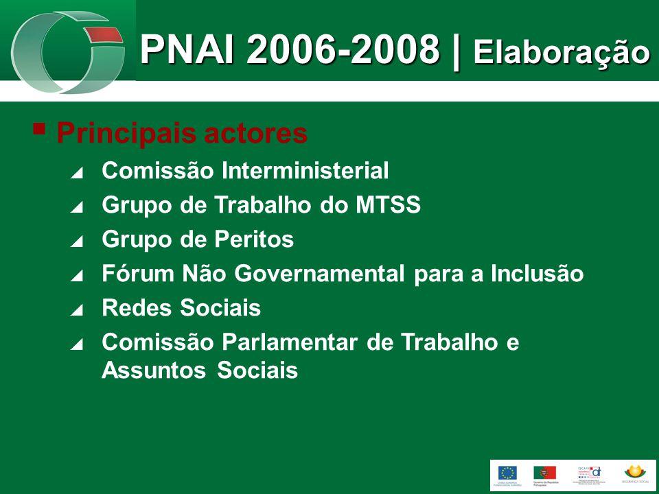 Principais actores Comissão Interministerial Grupo de Trabalho do MTSS Grupo de Peritos Fórum Não Governamental para a Inclusão Redes Sociais Comissão Parlamentar de Trabalho e Assuntos Sociais PNAI 2006-2008 | Elaboração