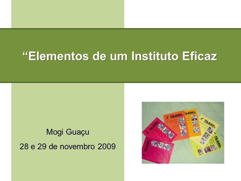 Elementos de um Instituto Eficaz Mogi Guaçu 28 e 29 de novembro 2009