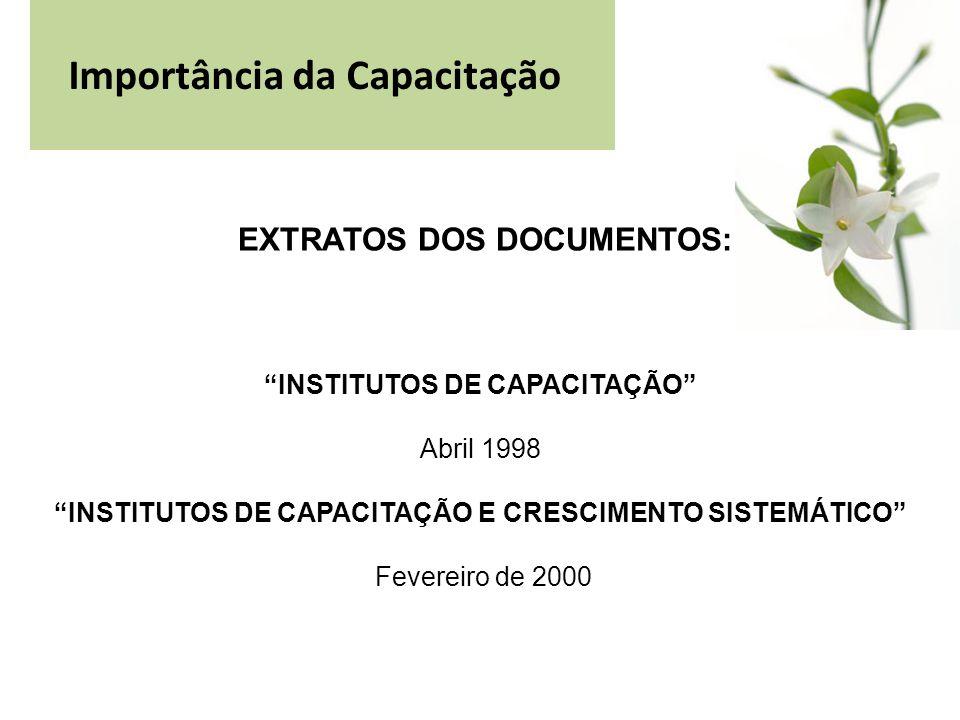 Importância da Capacitação EXTRATOS DOS DOCUMENTOS: INSTITUTOS DE CAPACITAÇÃO Abril 1998 INSTITUTOS DE CAPACITAÇÃO E CRESCIMENTO SISTEMÁTICO Fevereiro de 2000