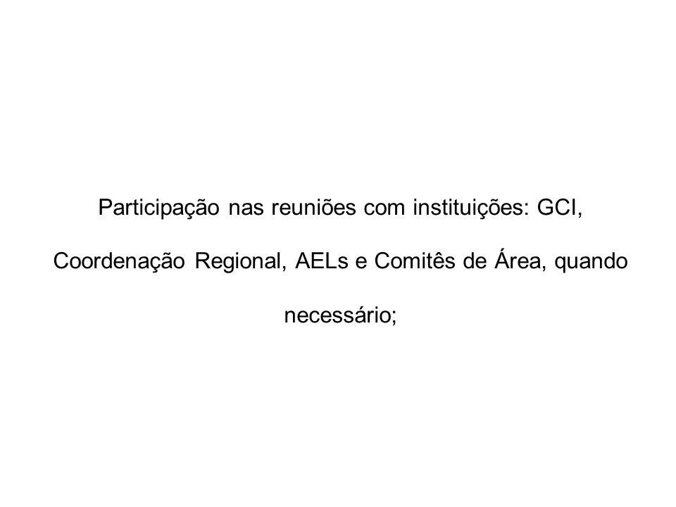 Participação nas reuniões com instituições: GCI, Coordenação Regional, AELs e Comitês de Área, quando necessário;