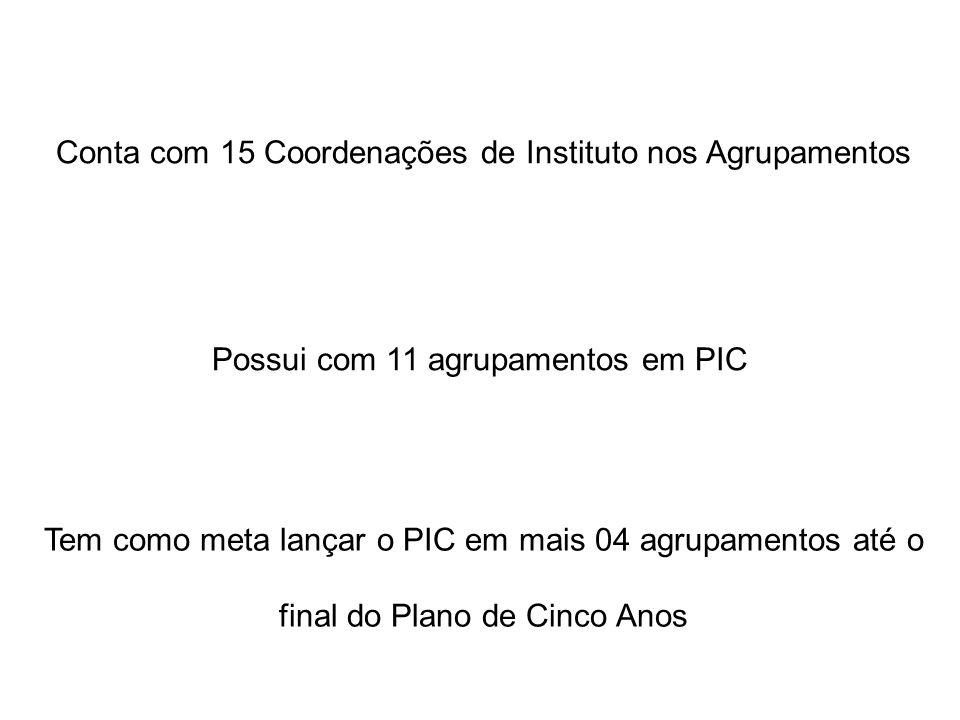 Conta com 15 Coordenações de Instituto nos Agrupamentos Possui com 11 agrupamentos em PIC Tem como meta lançar o PIC em mais 04 agrupamentos até o final do Plano de Cinco Anos