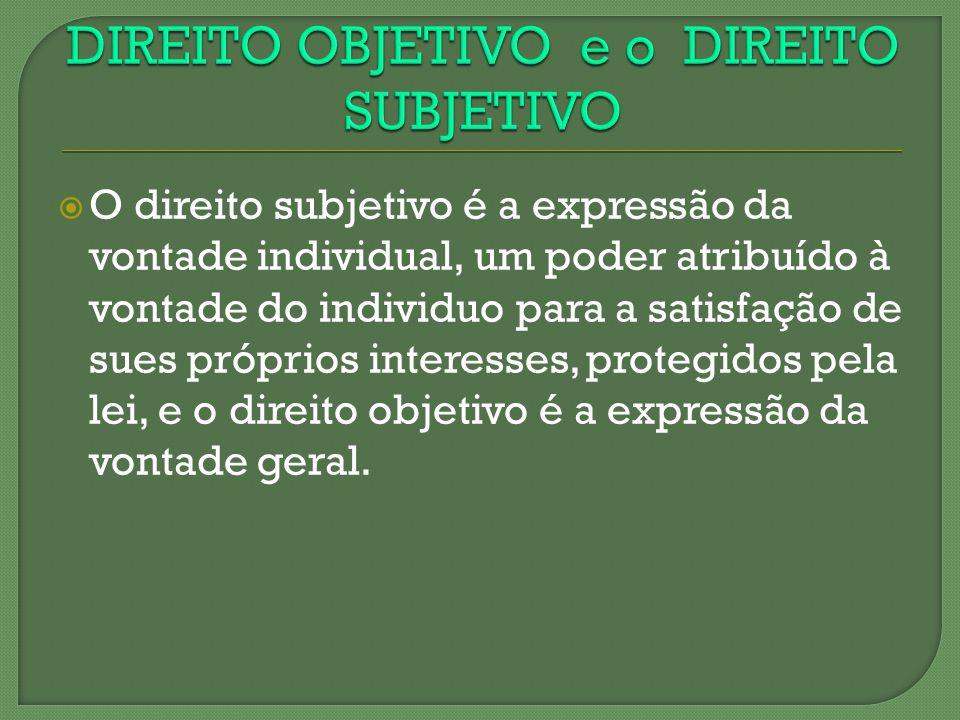 O direito subjetivo é a expressão da vontade individual, um poder atribuído à vontade do individuo para a satisfação de sues próprios interesses, prot