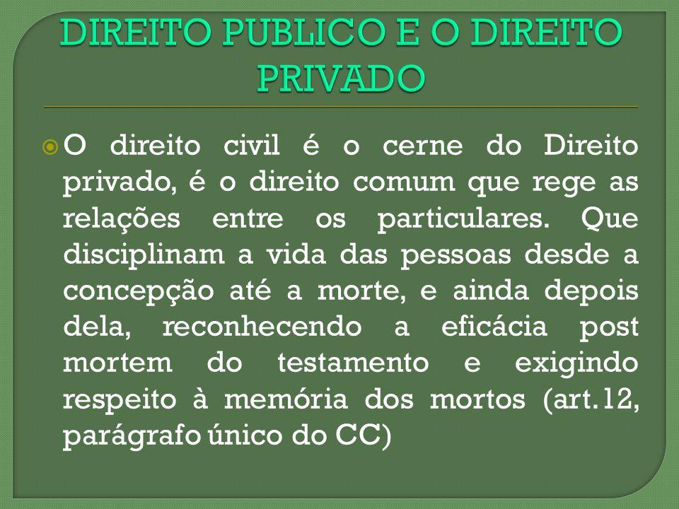 O direito civil é o cerne do Direito privado, é o direito comum que rege as relações entre os particulares. Que disciplinam a vida das pessoas desde a