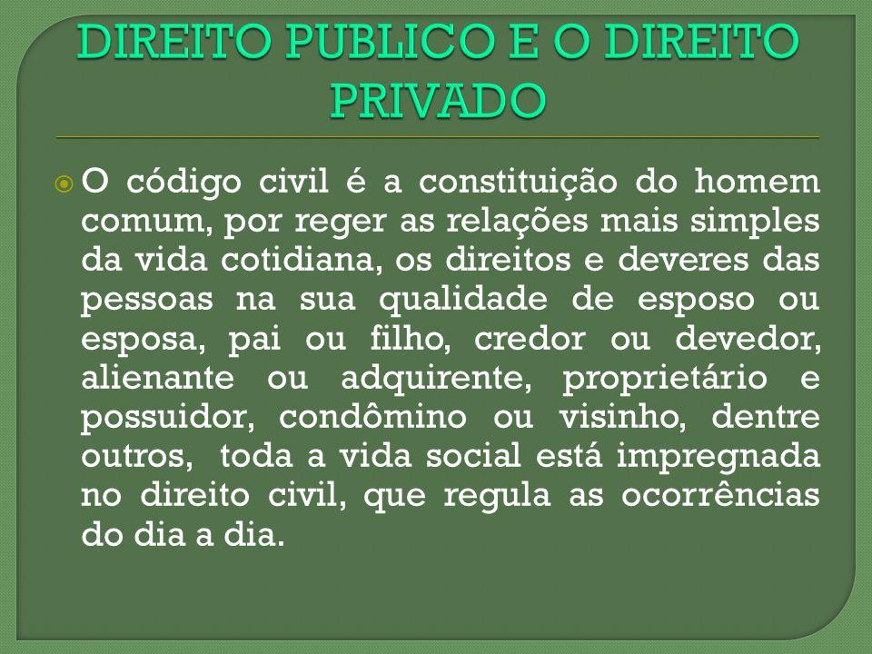 O código civil é a constituição do homem comum, por reger as relações mais simples da vida cotidiana, os direitos e deveres das pessoas na sua qualida