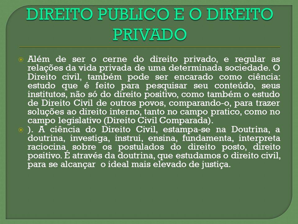Além de ser o cerne do direito privado, e regular as relações da vida privada de uma determinada sociedade. O Direito civil, também pode ser encarado