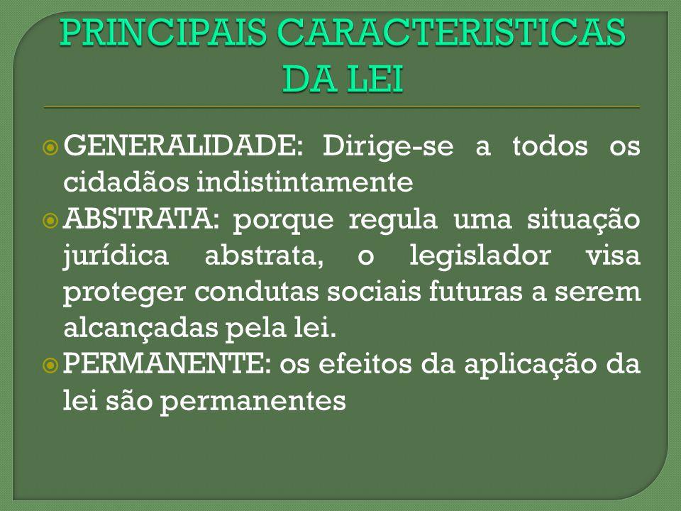GENERALIDADE: Dirige-se a todos os cidadãos indistintamente ABSTRATA: porque regula uma situação jurídica abstrata, o legislador visa proteger conduta