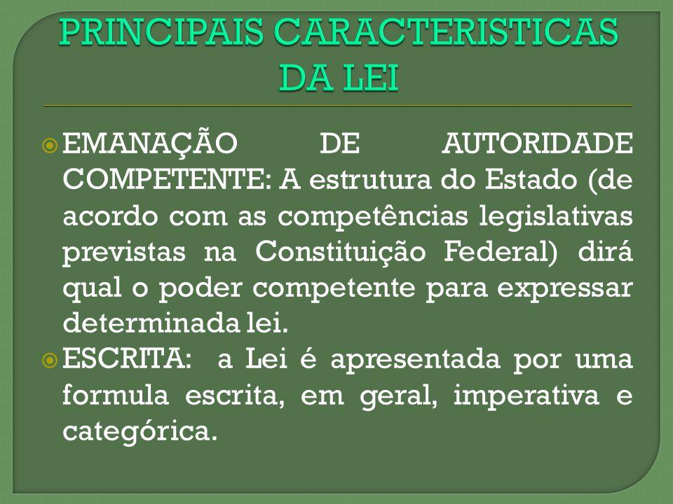 EMANAÇÃO DE AUTORIDADE COMPETENTE: A estrutura do Estado (de acordo com as competências legislativas previstas na Constituição Federal) dirá qual o po