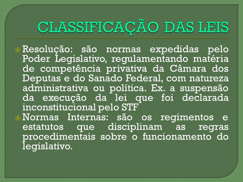 Resolução: são normas expedidas pelo Poder Legislativo, regulamentando matéria de competência privativa da Câmara dos Deputas e do Sanado Federal, com
