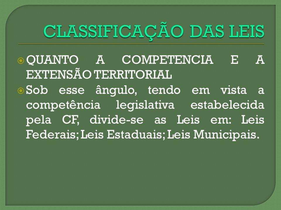 QUANTO A COMPETENCIA E A EXTENSÃO TERRITORIAL Sob esse ângulo, tendo em vista a competência legislativa estabelecida pela CF, divide-se as Leis em: Le