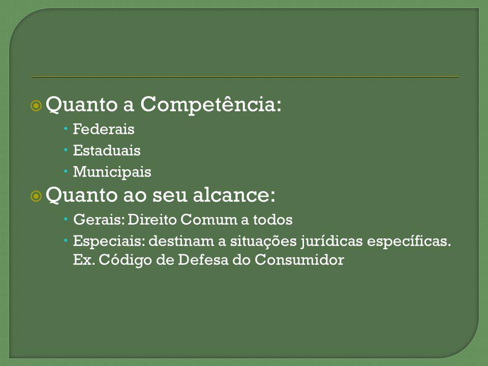 Quanto a Competência: Federais Estaduais Municipais Quanto ao seu alcance: Gerais: Direito Comum a todos Especiais: destinam a situações jurídicas esp