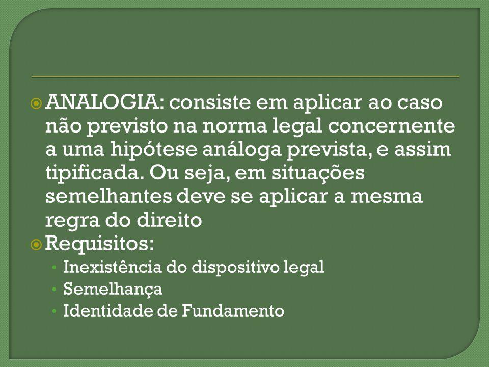 ANALOGIA: consiste em aplicar ao caso não previsto na norma legal concernente a uma hipótese análoga prevista, e assim tipificada. Ou seja, em situaçõ