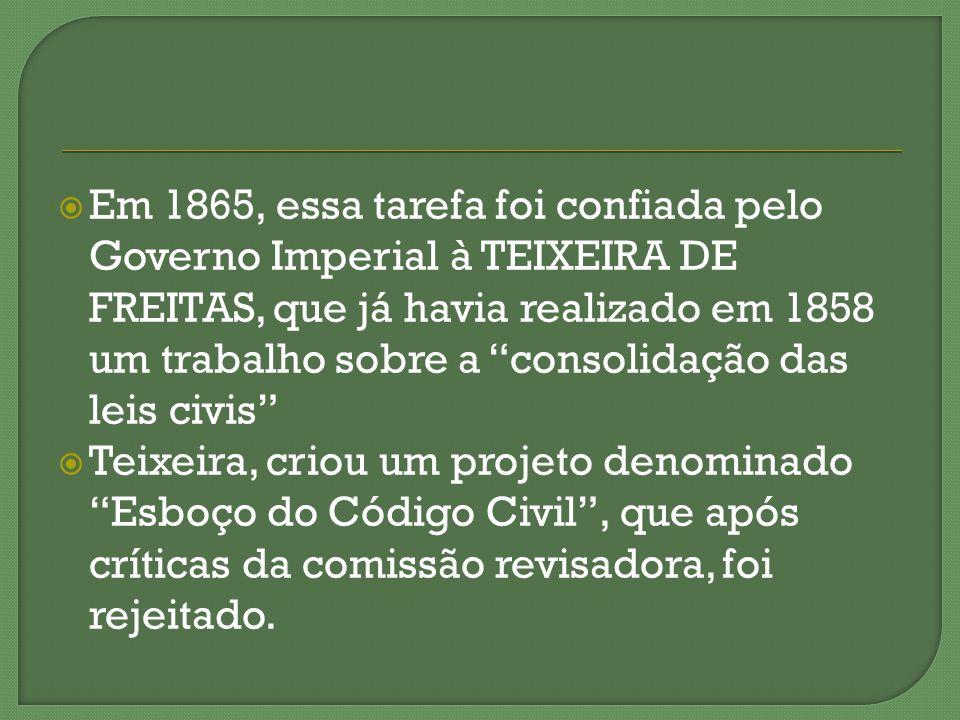 Em 1865, essa tarefa foi confiada pelo Governo Imperial à TEIXEIRA DE FREITAS, que já havia realizado em 1858 um trabalho sobre a consolidação das lei