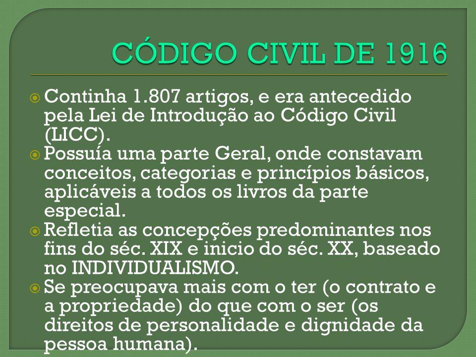 Continha 1.807 artigos, e era antecedido pela Lei de Introdução ao Código Civil (LICC). Possuía uma parte Geral, onde constavam conceitos, categorias