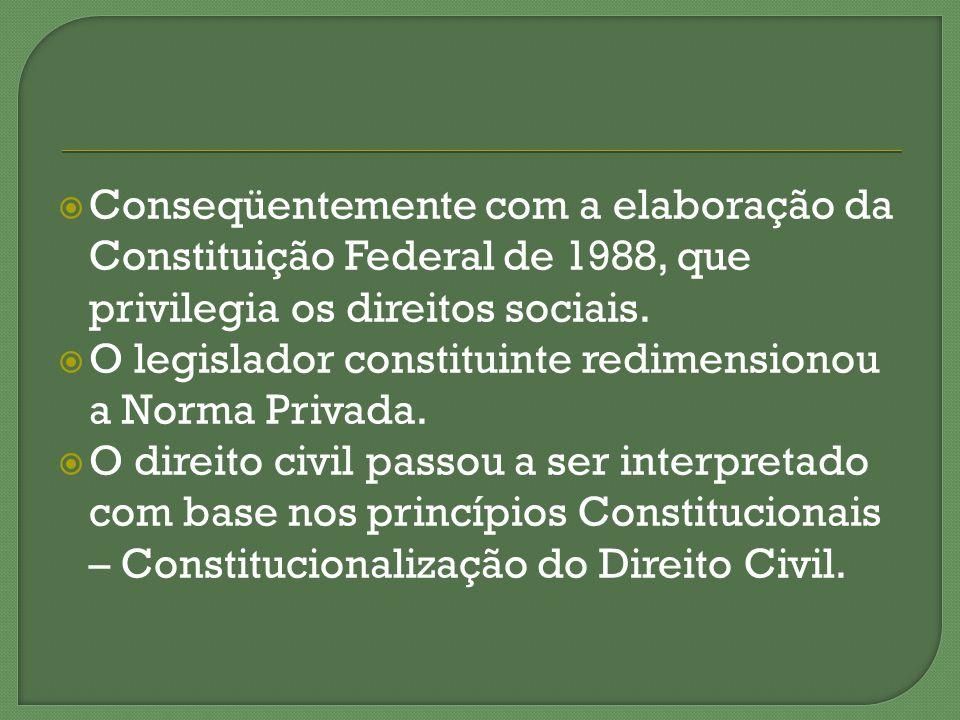 Conseqüentemente com a elaboração da Constituição Federal de 1988, que privilegia os direitos sociais. O legislador constituinte redimensionou a Norma
