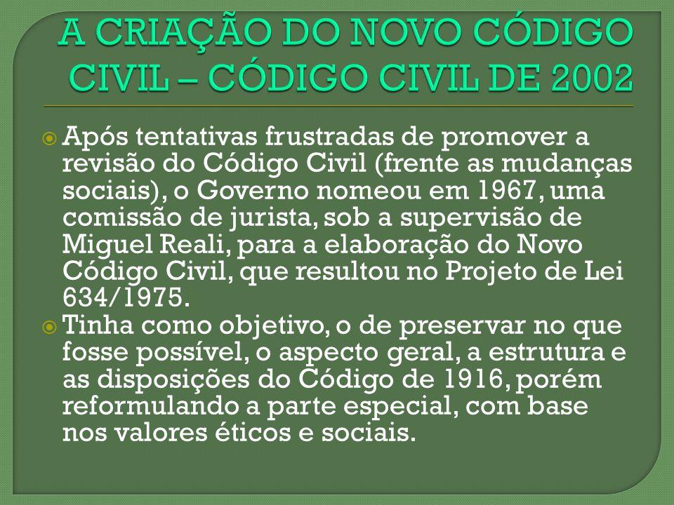 Após tentativas frustradas de promover a revisão do Código Civil (frente as mudanças sociais), o Governo nomeou em 1967, uma comissão de jurista, sob