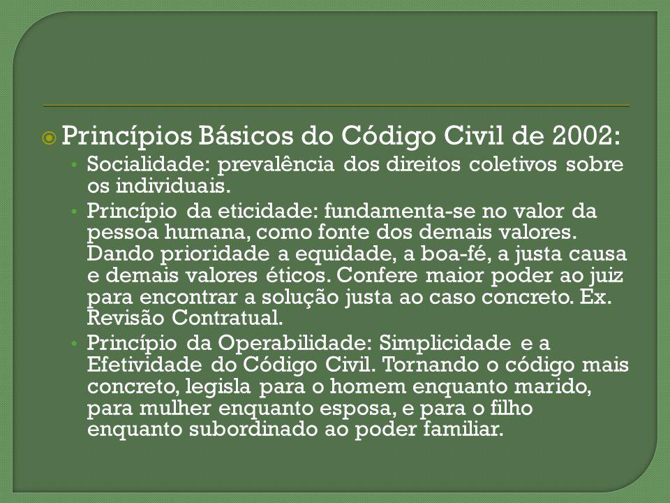 Princípios Básicos do Código Civil de 2002: Socialidade: prevalência dos direitos coletivos sobre os individuais. Princípio da eticidade: fundamenta-s