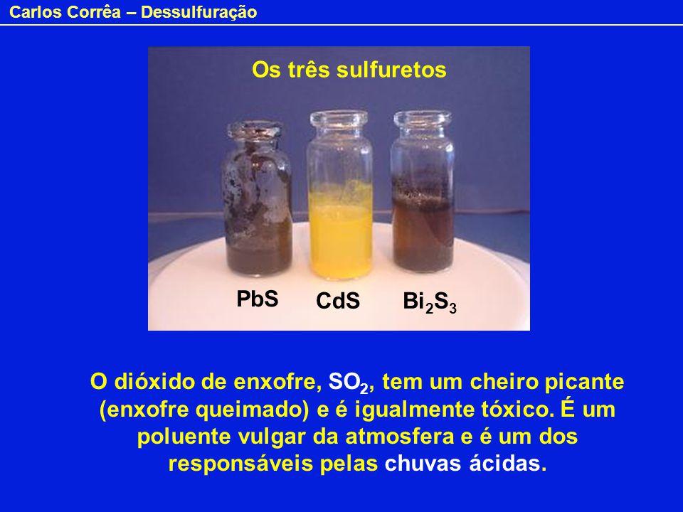 Carlos Corrêa – Dessulfuração O dióxido de enxofre, SO 2, tem um cheiro picante (enxofre queimado) e é igualmente tóxico. É um poluente vulgar da atmo